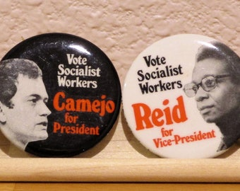 PETER CAMEJO and Willie Mae Reid Campaign Pins Nominees President Vice President 1976 Socialist Workers Party