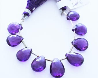 Amethyst Gemstone Faceted Briolettes Qty 9 Matched Pairs