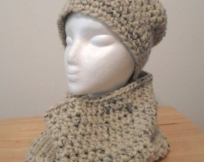 Hat - Crochet Hat with Cowl in Beige mixed Acrylic Yarn - Size Medium