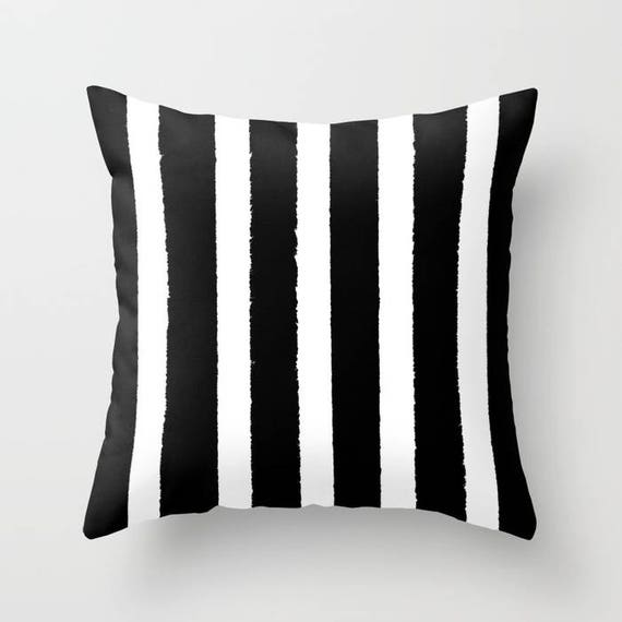 OUTDOOR Throw Pillow - Black and White Outdoor Pillow - Stripe patio cushion - Modern Black Pillow -  16 18 20 inch - Outside Pillow
