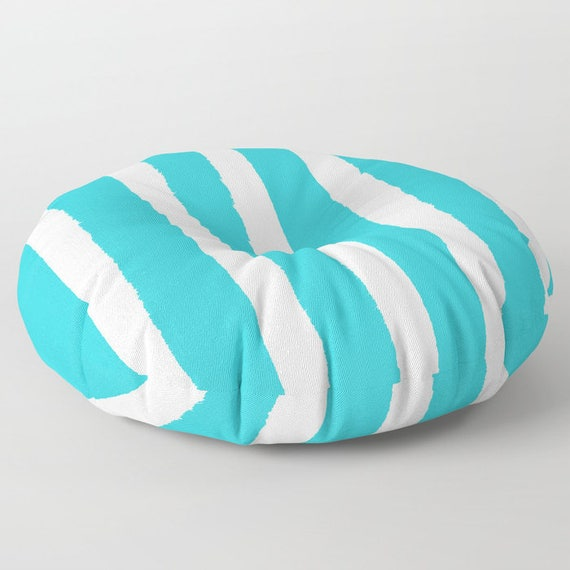 Aquamarine and White Striped floor cushion - Round cushion - Pillow - Round pillow - Cyan Striped Floor pillow - 26 inch pillow - 30 inch