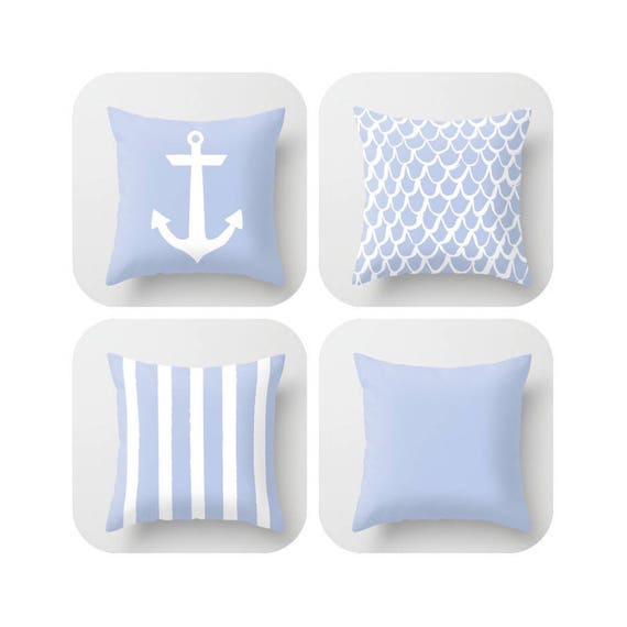 Periwinkle Throw Pillow . Mermaid Pillow . Anchor Pillow . Coastal Pillow . Striped Pillow . Cushion . Blue Throw Pillow 16 18 20 24 inch