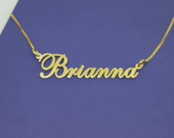 24k Gold Plated Name Necklace with your name, any name of your choice, Lindsay style, Double thickness up to 13 letters