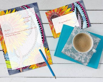Santana's Sunflowers 'print your own' letter writing paper set