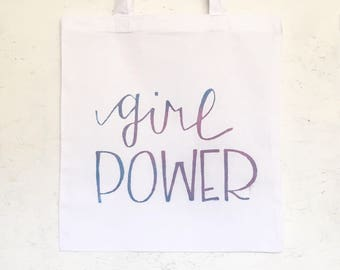 girl power 100% cotton tote grocery bag