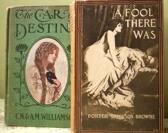 Set of 5, Edwardian Book Stack, Antique Brown Book Bundle Set, Wedding Decor Prop, Early 1900s Bundled Tan Books, Five Book Stack Lot