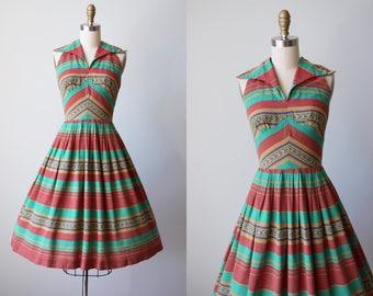 1940s 1950s Dress - Vintage 40s 50s Dress - Terracotta Aqua Southwestern Print Cotton Full Skirt Sundress XS S - Escape to Sedona Dress