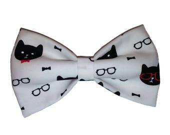 Dapper Cats Bow Tie - Self Tie Bow - White Cat Bow Tie - Dog Bowtie - Hair Clip