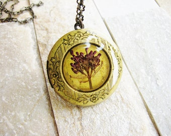 Flower Locket Necklace, Pressed Flower Necklace, Real Flower Jewelry, Nature Lover's Gifts, Birthday Gifts