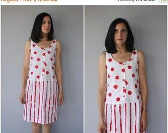 48 HR FLASH SALE Vintage 1980s Dress   80s Minimalist Dress   80s Dress   1980s Cotton Dress   1980s Sun Dress   Striped Dress - (small)
