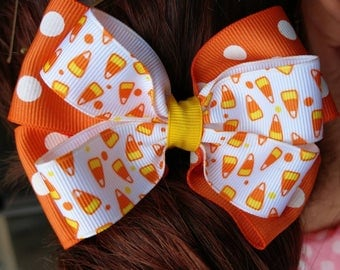 Hair Bow - Halloween Candy Corn Layered Bow
