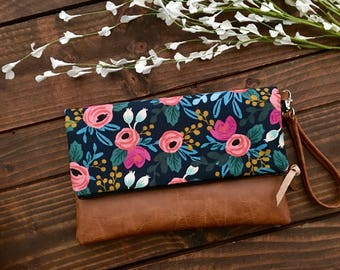 Fold Over Clutch - Coral Floral In Midnight with Vegan Leather - Detachable Wristlet