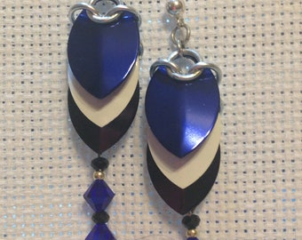 Scale Maille Earrings- Blue, Black, White