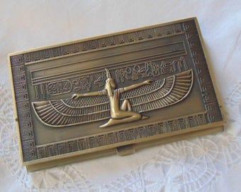 "Vintage brass card case Egypt inspired 1960 4"" x 2.5"""