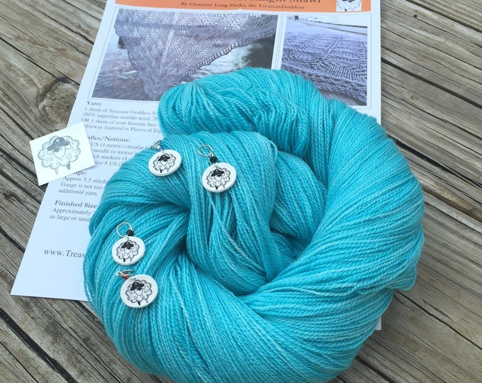 Ocean In the Moonlight Shawl KIT KAL Mermaid's Curse Silk Treasures Lace Yarn Pattern PDF Stitch Markers merino silk yarn turquoise teal