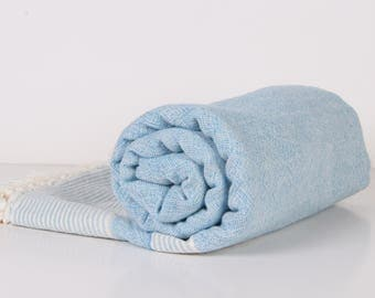 Towel... Bath Towel, Pool, Spa,  natural light Blue and Cream double-face fabric