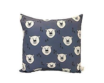 Polar Bear Print Cushion - Bear Kisses Print Pillow - Blue Black White Cushion
