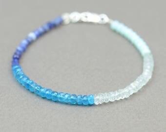 Blue gemstones bracelet - Aquamarine,apatite,amazonite and sodalite
