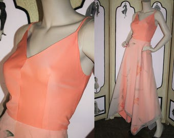 Vintage 1970's Formal Dress with Layered, Hand Painted, Handkerchief Skirt in Peach. Medium.