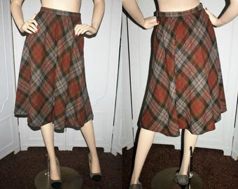 Vintage 70's Plaid Wool A-Line Skirt in Black, Tan, Red and Blue by Classic of Boston. Small.