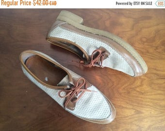 SUMMER SALE 90s Oxford Shoes, Leather Brogues, Vintage Shoes, Size US 8 / Euro 38 / Uk 5.5  Womens Brown Shoes, Lace Up Flats, Preppy Prepst
