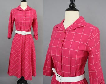 vintage 80s Hot Pink Windowpane Plaid Dress / 1980s Long Sleeve Magenta Checked Shirtwaist Dress Midi Dress / Large