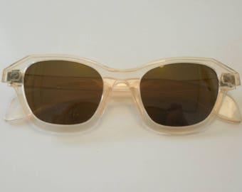 Vintage 1930 1940 Rare Clear Peach Celluloid Sunglasses Dead Stock