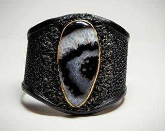 Genuine Stingray black leather bracelet cuff with stripe agate. Handcrafted exotic leather statement bracelet bangle semiprecious stone