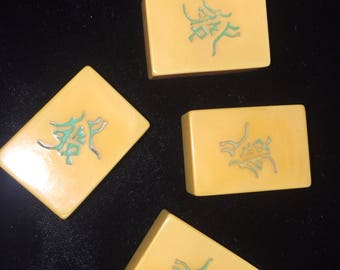 4 Bakelite Mahjong Tiles - Green Dragon