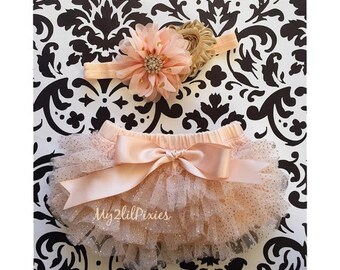 SALE Special LISTING- Baby Girl tutu and HEADBAND Set- Champagne and Gold sparkle Ruffle Bum Baby Bloomer with Satin Bow , Baby girl Headban