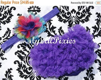 SALE Ruffle Bum Bloomer and Headband- purple bloomer, ruffle diaper cover, baby girl headband, ruffle panties, baby bloomers, chiffon bloome