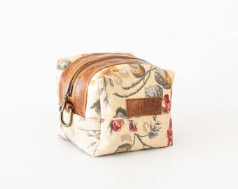 Makeup bag in floral canvas and brown leather, accessory case storage bag toiletry case bridesmaid gift - Cube