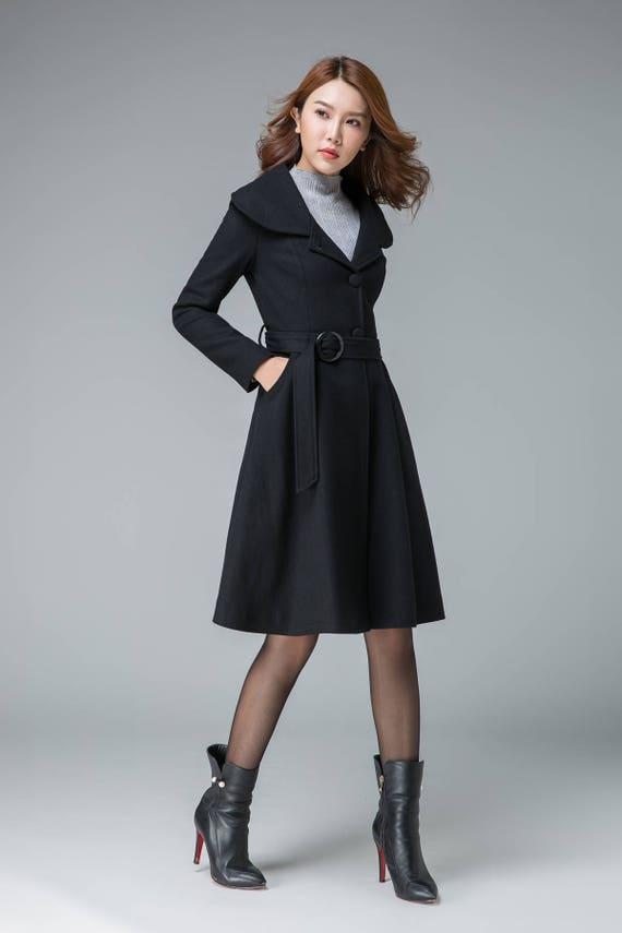 black winter coat plus size coat wool coat lapel coat