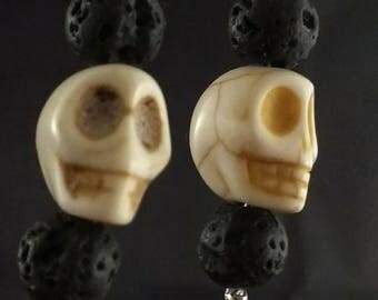 Lava Beads, Carved Bone Skull,  and Sterling Silver Dangle Earrings