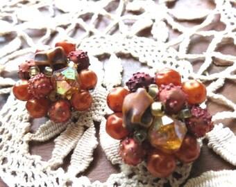 On SALE Vintage Orange Cluster Bead Clip On Earrings Made in Hong Kong