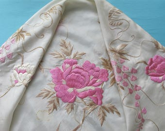 Embroidered Shawl Cream Silk Pink White Flower Peonies Wisteria Green Leaves Chinese c.1920s Long Knotted Fringe