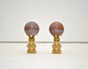 Lamp Finial Pair - Fancy Pink Jasper Spheres