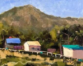 MT TAM VIEW - 8 x 10 - Mount Tamalpais, Northern California - Original Oil Painting - Houses - Beach Home Decor - Greenbrae, Mill Valley