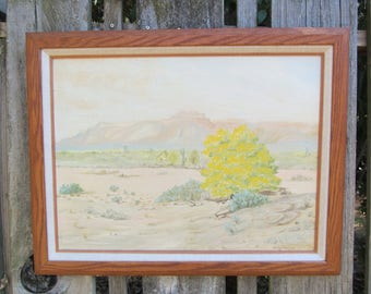 Vintage Painting Superstition Mountains and Palo Verde Tree, Sonoran Desert, Landscape,