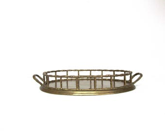 Vintage Oval Brass Tray with Galley Rails and Handles