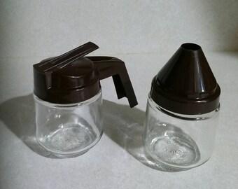 Vtg GEMCO Small Brown Cream and Sugar Pour Dispenser Set