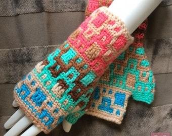Tri-Color Gloves - Fingerless Winter Gloves, Unisex Gloves - Mosaic Crochet (L)