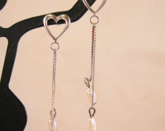 XMAS in JULY SALE Heart & Fresh Water Pearl Drop Dangle Earrings Rhodium Plated Sterling Silver Vintage Jewelry Jewellery
