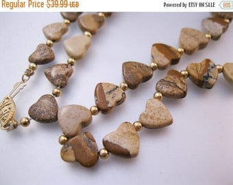 "XMAS in JULY SALE 14k Heart Shaped Picture Agate 21"" Beaded Necklace Vintage Jewelry Jewellery"