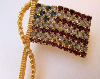 XMAS in JULY SALE Vintage American Usa Flag Rhinestone Brooch Sgd Rafaelian Costume Jewelry Jewellery