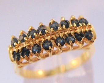 SALE & FREE SHIPPING Blue Sapphire Gold Plated Costume Ring Size 6.5 Vintage Jewelry Jewellery
