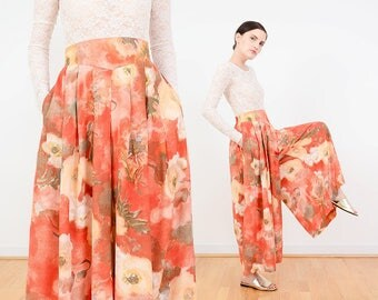 Vintage Orange Floral Culottes | Watercolor Floral Pants | High Waist Pleated Wide Leg Trousers | Palazzo Pants | Medium M NOS
