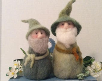 Set Of Best Buddies Spring Gnomes Needle Felt Wool Whimsical Home Decor