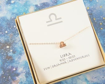 rose gold zodiac Libra necklace, April May birthday gift, custom personalized, gift for women girl, minimalist, simple necklace, layered