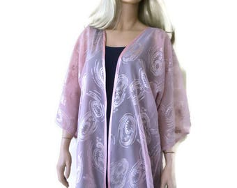 Champagne pink-Powder Pink Organza/Chiffon Kimono with wide sleeves-Pink-Beige with gold touches-plus size kimono-Only one available